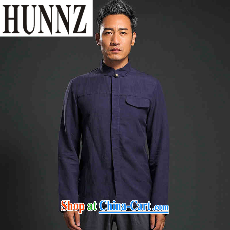 Products HUNNZ China wind shirt men's linen shirt long-sleeved simple plain colored Chinese Tang on the buckle smock dark blue XXXL