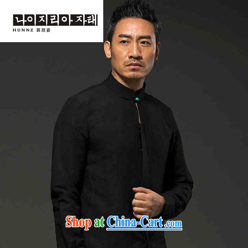 Products HANNIZI men's long-sleeved natural linen casual thin shirt classic Chinese wind loose Solid Color Tang black XXXL