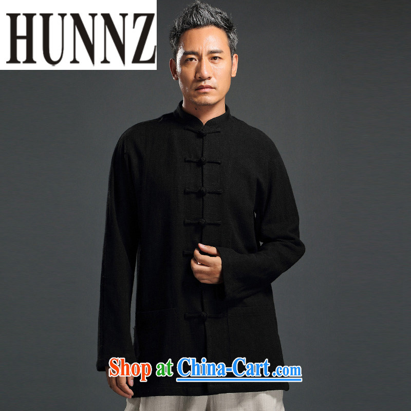 Products HUNNZ men detained the Han-Chinese wind long-sleeved Chinese men's leisure loose cotton shirt the father black XXXXL