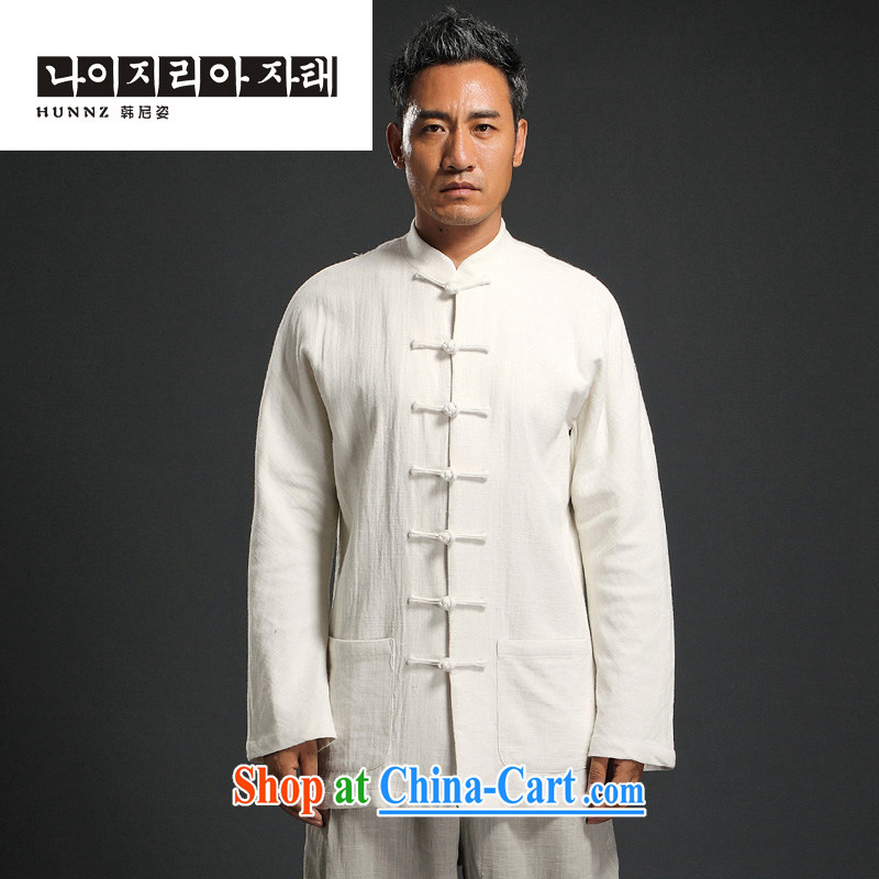 Products HANNIZI men detained the Han-Chinese wind long-sleeved Chinese men's leisure loose cotton shirt the father with white XXXXL
