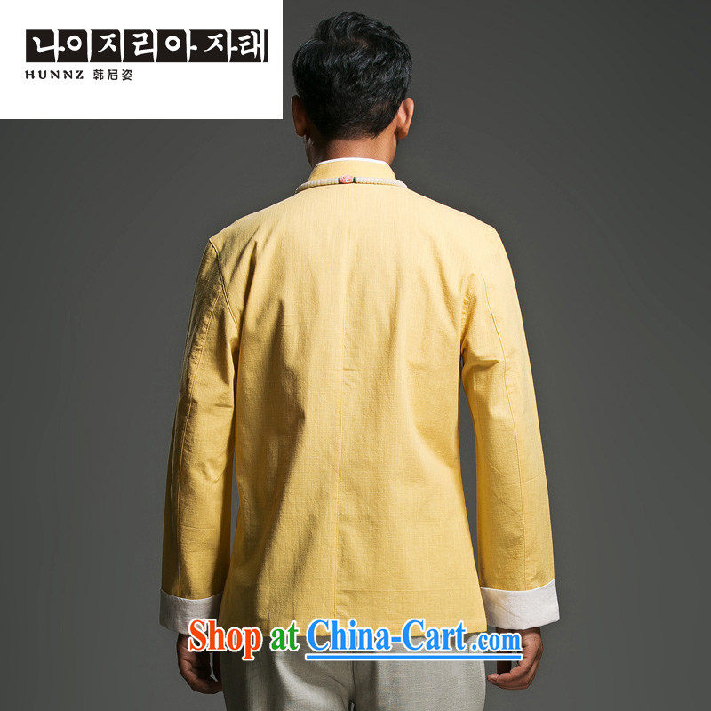 Products HANNIZI New Products Linen simple Tang with long-sleeved loose classical Chinese wind load of the charge-back national wind T-shirt yellow 190, Korea, (hannizi), online shopping