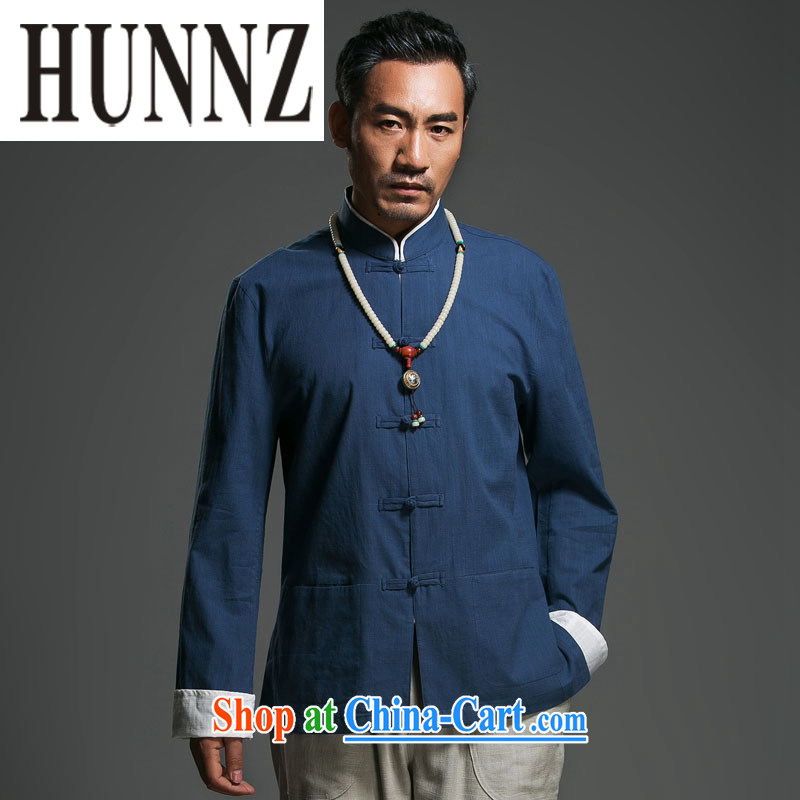 Products HUNNZ New Products Linen simple Tang with long-sleeved loose classical Chinese wind load of the detained national wind jacket blue 190