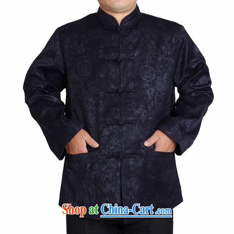 Adam 15 elderly people fall and winter New Tang jackets men's grandfather in older ethnic costumes T 1157 deep blue this small concept, it is recommended that a bigger size.