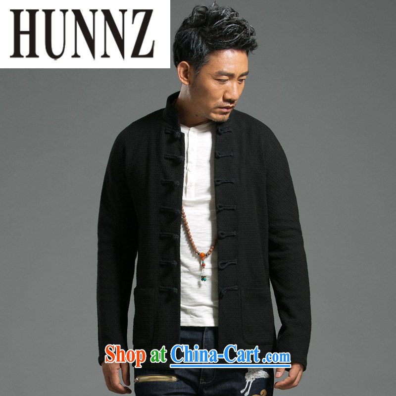 Products HUNNZ China wind men's Tang knitted solid color jacket long-sleeved retro, trendy T-shirt jacket black XXXXL