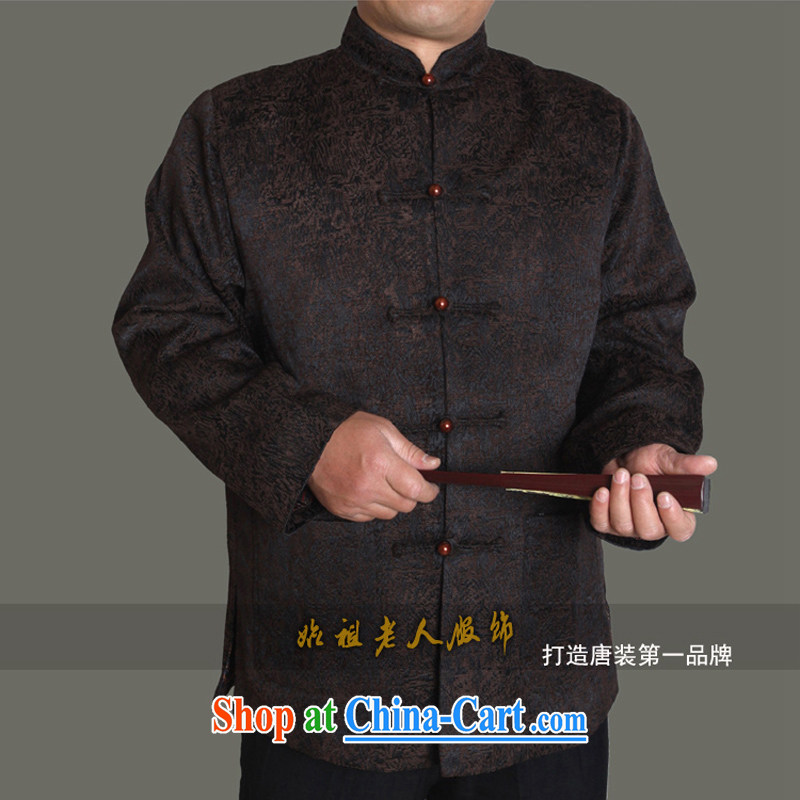 15 fall_winter new upscale male Tang jackets men's clothing ethnic clothing, older autumn and winter gift T T 1369 1369 dark coffee this small concept, it is recommended that a large number