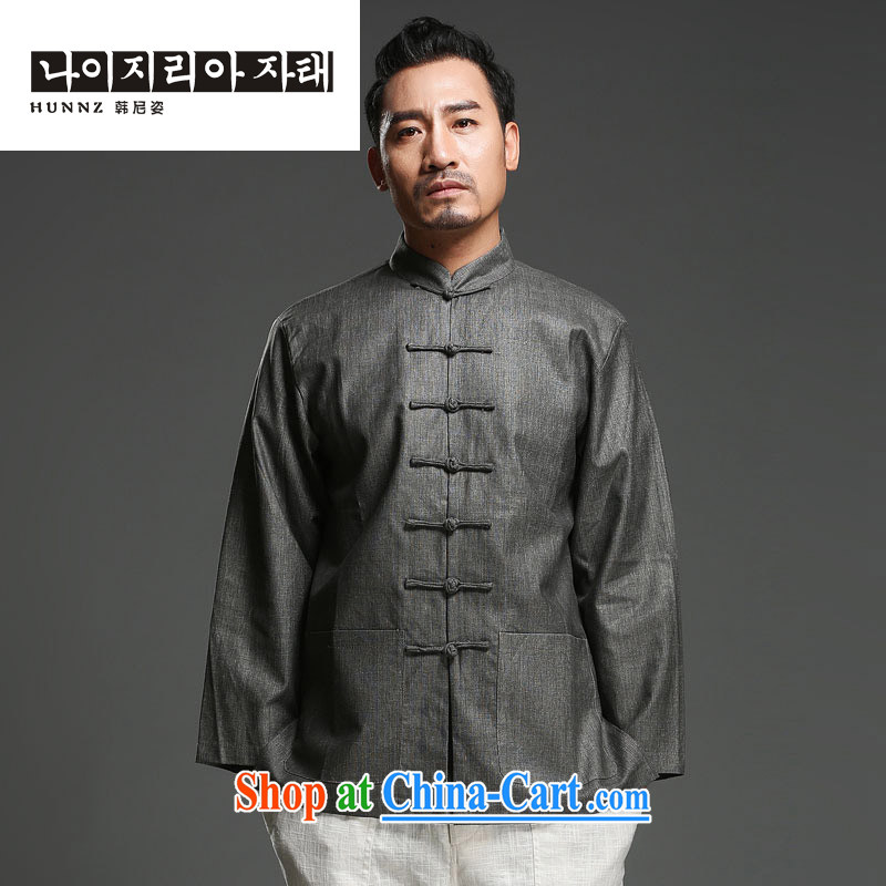 Products HANNIZI China wind cotton Ma Man-buckle up for Chinese antique decor and a National wind long sleeved shirt gray XXL