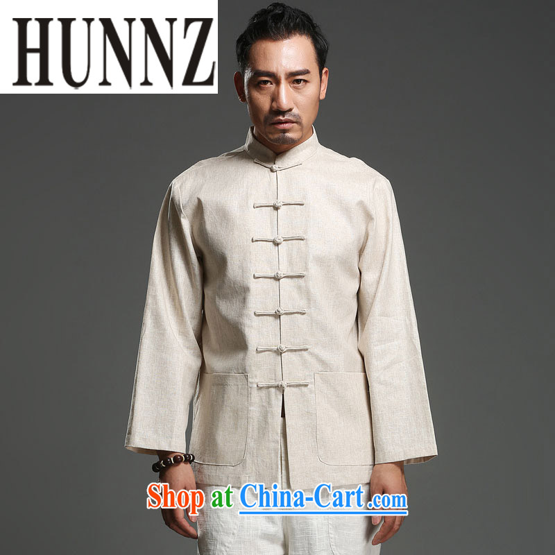 Products HUNNZ China wind cotton Ma Man-buckle up for Chinese antique decor and a National wind long sleeved shirt light yellow XXL