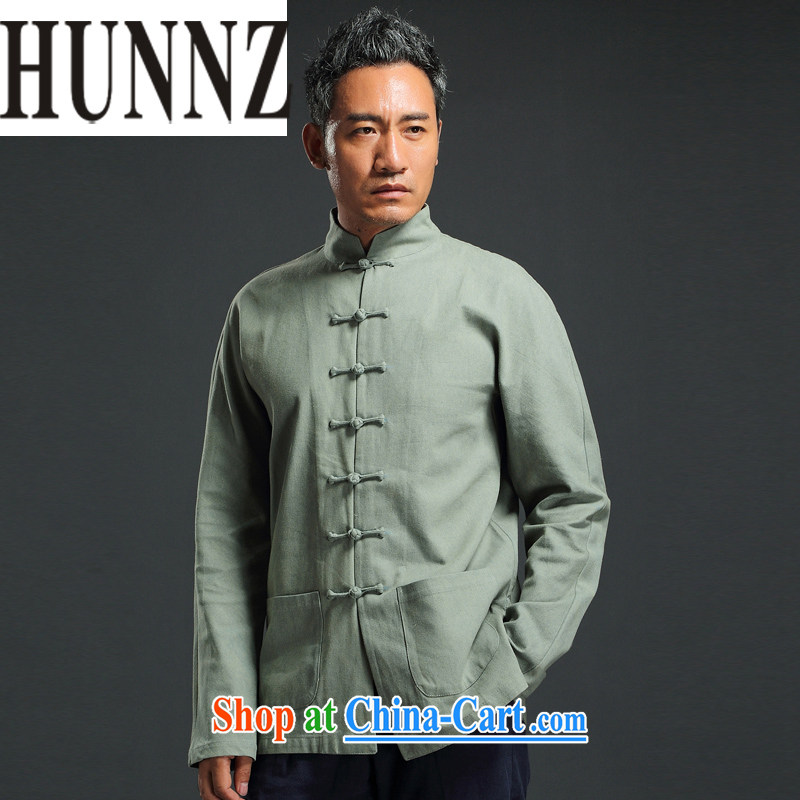 Products HUNNZ China wind antique Chinese long-sleeved Chinese, led the charge-back casual simplicity and national costumes men's ripstop taffeta overlay green 185
