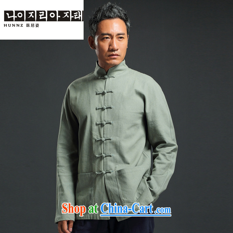 Products HANNIZI China wind antique Chinese long-sleeved Chinese, led the charge-back casual simplicity and national costumes men's ripstop taffeta overlay green 190