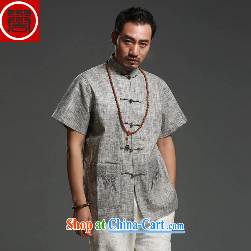 Internationally renowned Chinese clothing summer 2015 men's cotton mA short-sleeve T-shirt Chinese style Chinese half sleeve embroidery China wind men's T-shirt gray XXXL