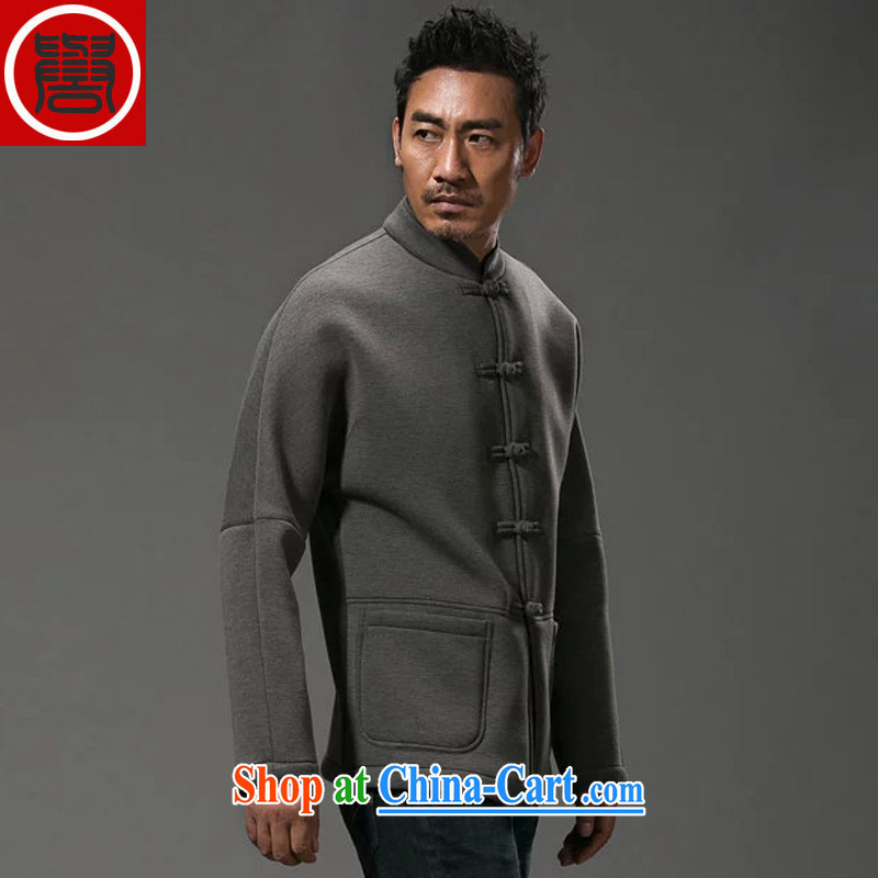 Internationally renowned Chinese clothing Chinese wind sweater men's jackets Chinese men short spring and autumn and the manual tray and snap sweater space cotton gray 3XL