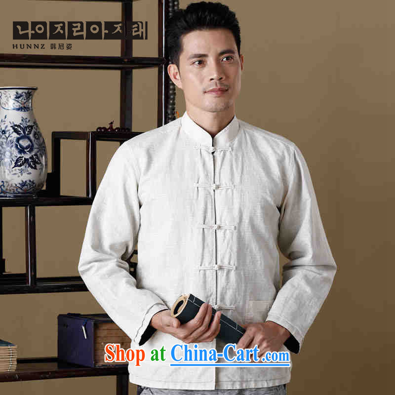 Name HANNIZI, new, natural linen men's Chinese long-sleeved jacket Chinese, for double-sided through Hermit serving poetry air male white and blue 185