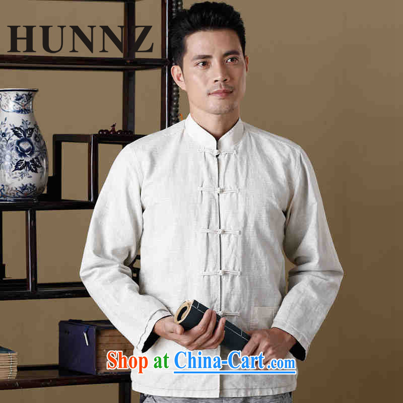 Name HUNNZ, new, natural linen men's Chinese long-sleeved jacket Chinese, for double-sided through Hermit serving poetry air male white and blue 170