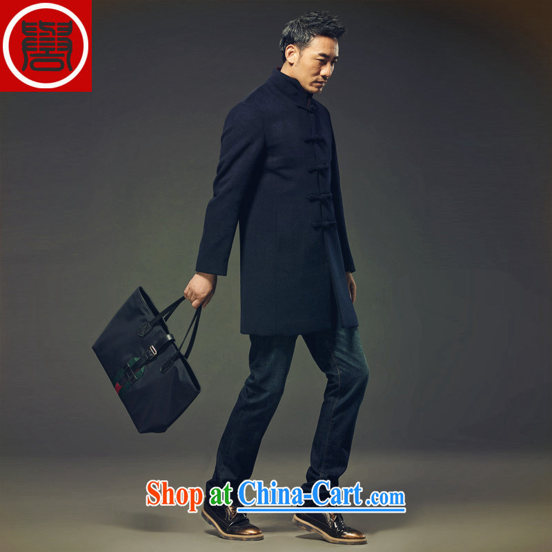 Internationally renowned Chinese clothing Chinese wind fall and winter Chinese men's Cashmere wool coat this man long, collar windbreaker style jacket crisp black XXL