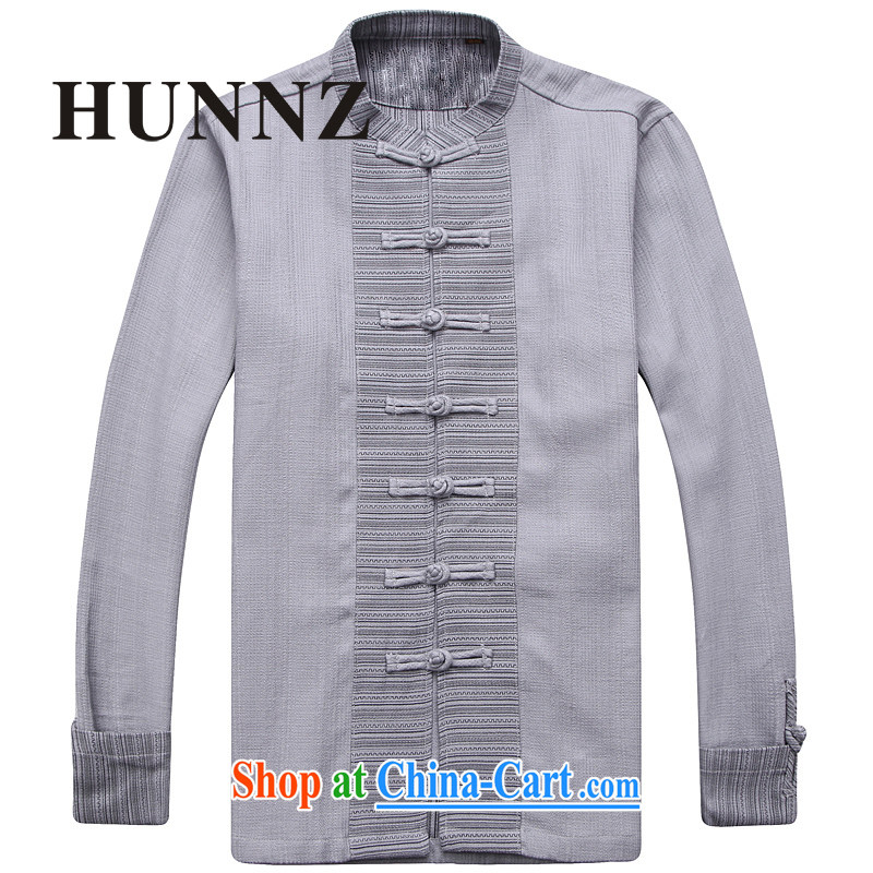 Products HUNNZ new Chinese wind men's linen Chinese classical simple plain colored monks serving long-sleeved-tie retro men's light gray 185