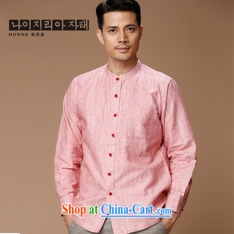 Products HANNIZI new Chinese wind linen men's Chinese Antique Long-Sleeve men's shirts jacket classic cynosure serving rose red 185