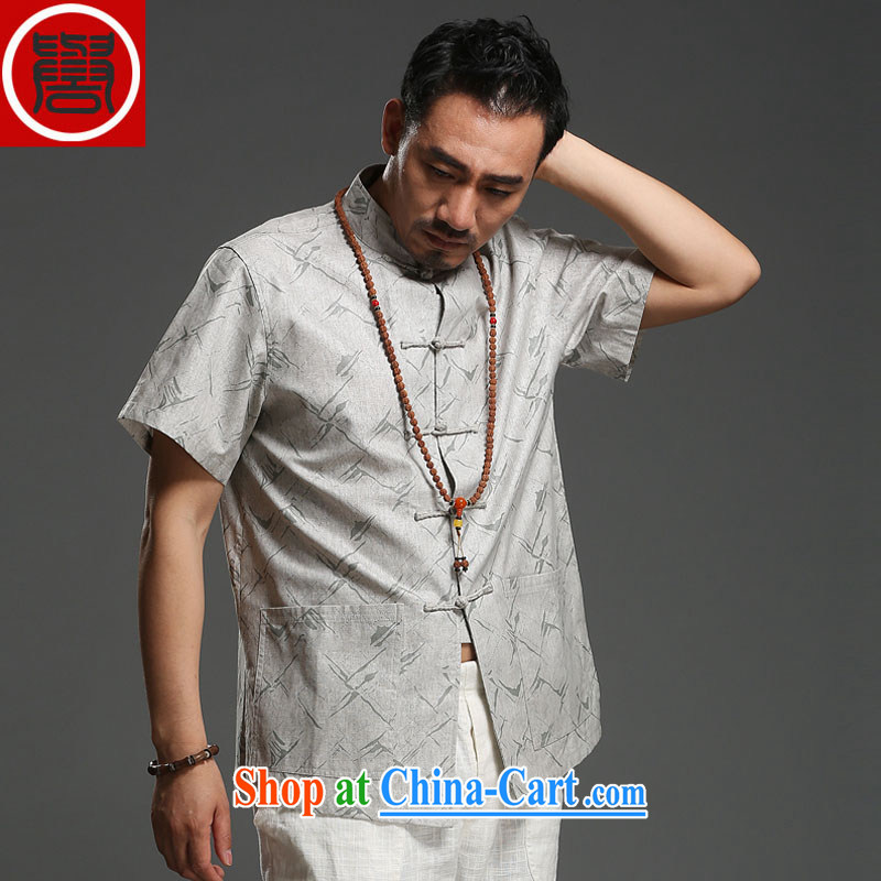 Internationally renowned Chinese clothing men's Chinese cotton MA, short-sleeved shirt stamp loose China wind relaxed and modern Chinese men's gray L