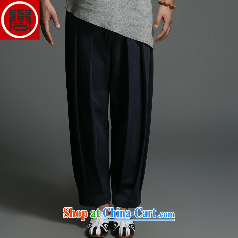Internationally renowned Chinese clothing men's pants relaxed retro 3, widening and collapse of pants Chinese China wind cotton the lantern pants blue XXXL
