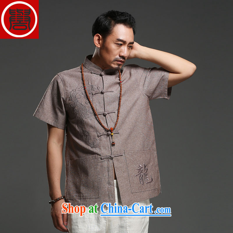 Internationally renowned Chinese clothing Chinese men's short-sleeved cotton Ma 2014 New Dragon tattoo Chinese summer breathable T-shirt, national costumes brown XXXL