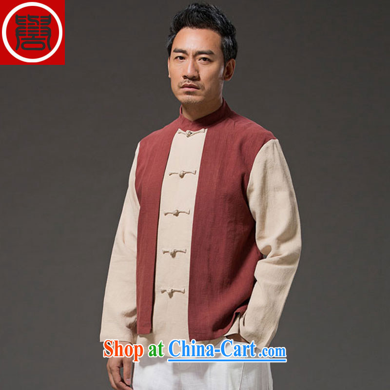 Internationally renowned Chinese clothing original China wind leave two beauty men's long-sleeved T-shirt with autumn flax spell color-charge-back the collar T-shirt red XXXL
