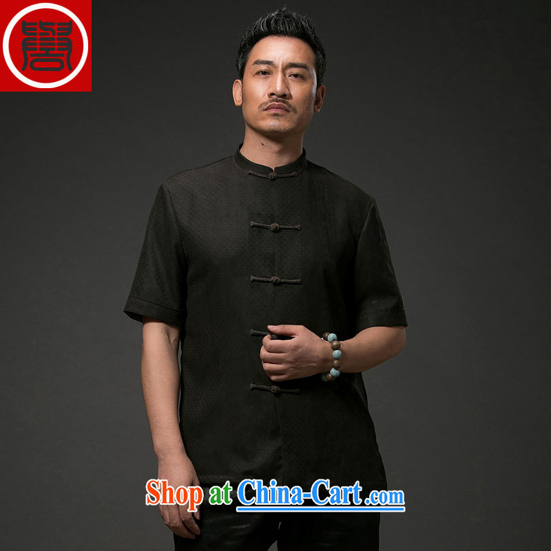 Internationally renowned Chinese clothing Chinese wind men's Summer Scent cloud yarn silk, older male Chinese short-sleeved men's national leisure Tang black 4XL