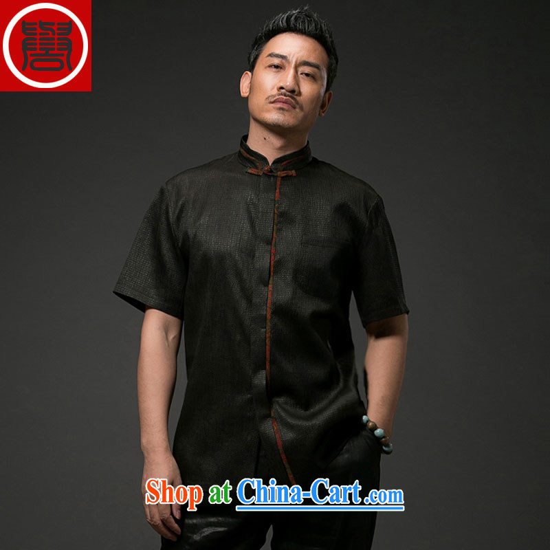 Internationally renowned Chinese clothing Chinese men's fragrance cloud yarn silk short-sleeved Chinese wind male Chinese shirt sauna silk shirt men's black 4XL
