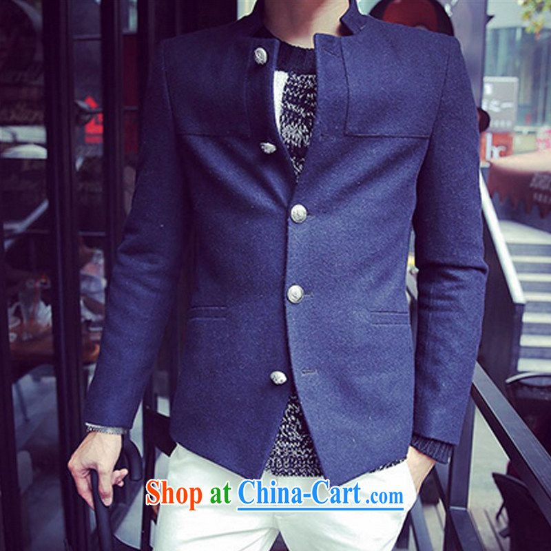 Dan Jie Shi new fall and winter is short, the collar suits metal clip hair Smock is male and dark blue XXL