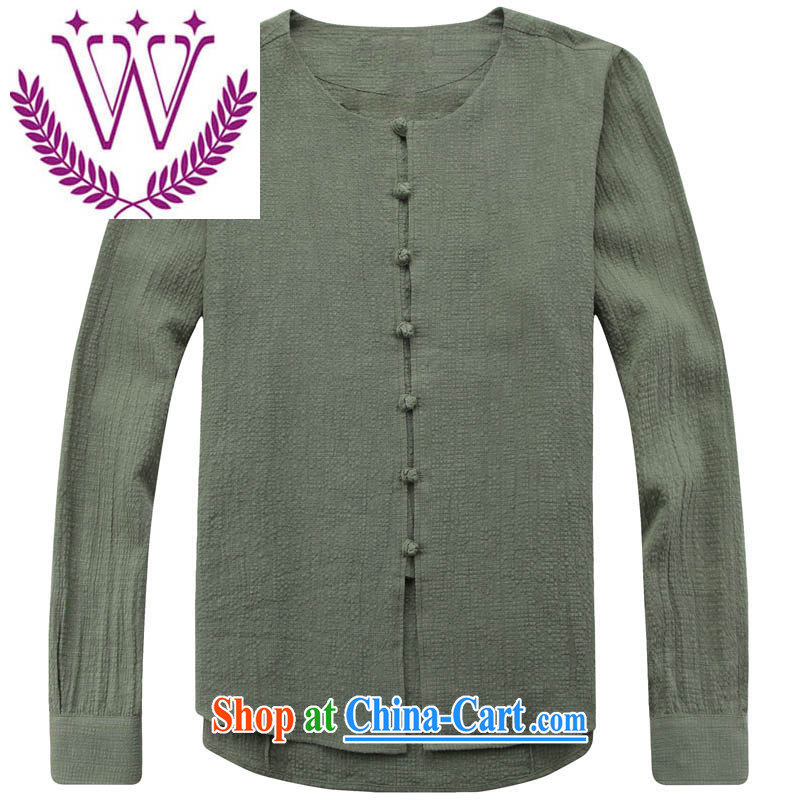 Five Chinese men's long-sleeved round neck cotton the thin coat retreat serving retro Chinese Ethnic Wind cynosure serving simple men's green 185