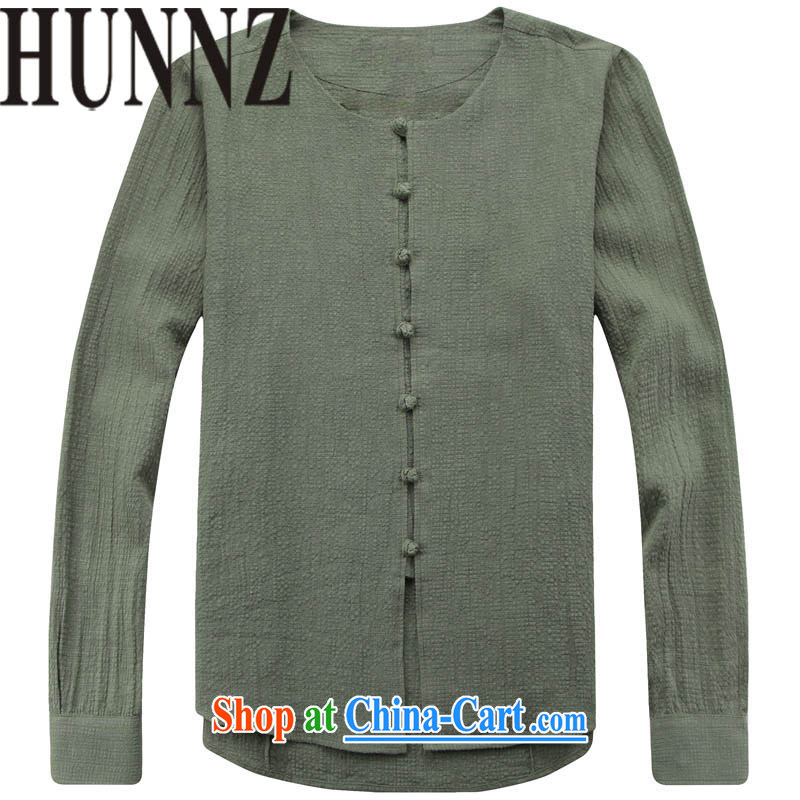 Products HUNNZ Chinese men's long-sleeved round neck cotton the thin coat retreat serving retro Chinese Ethnic Wind cynosure serving simple men's green 185