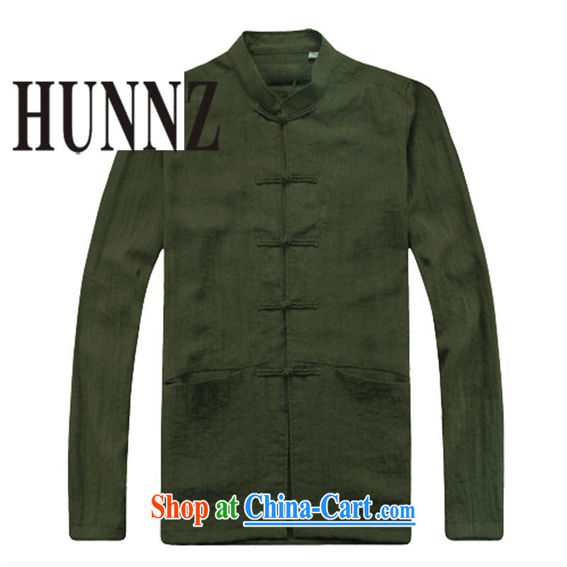Products HUNNZ new and antique Chinese wind long-sleeved men's cotton leprosy is still Chinese Chinese male, in the Nepal military green 185