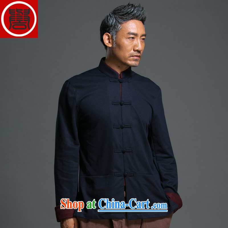 Internationally renowned Chinese clothing Chinese Wind and autumn loose long sleeved shirt Chinese men's Chinese, for national-tie jacket improved Han-blue XXXL