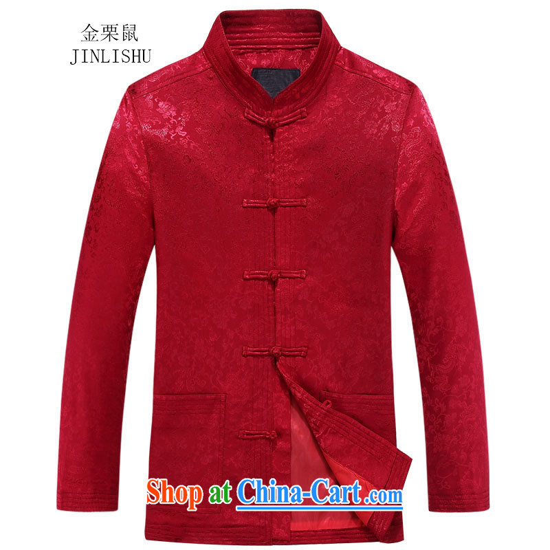 The chestnut mouse autumn New Men's Tang jackets long-sleeved T-shirt, for China wind jacket, older red 170