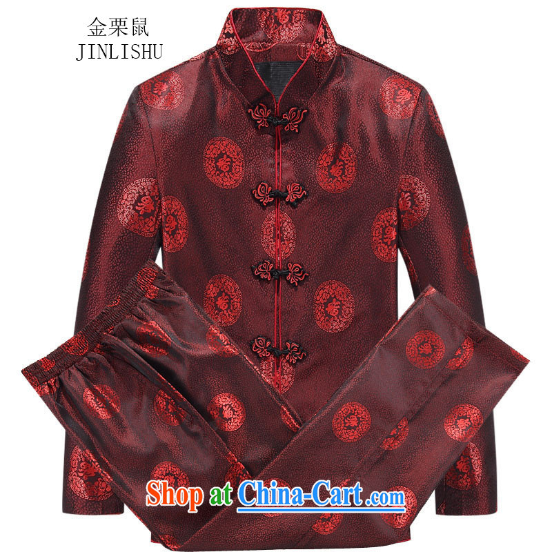 The poppy in the elderly couples with Tang Tang on men and women, Autumn jacket and T-shirt, red men, 175
