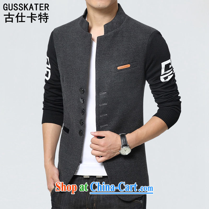 Old Mr Rafael Hui Carter 2015 autumn smock style Leisure Suit men's China wind Tang jackets 1015 gray 3 XL