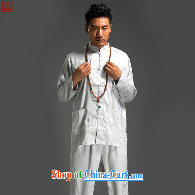 Internationally renowned Chinese clothing Chinese style Chinese men's long-sleeved Kit Chinese Summer Package men's T-shirt Chinese male white 4XL