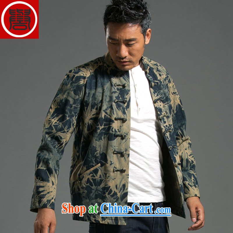 Internationally renowned Chinese clothing early spring new cowboy Chinese men's casual China wind-detained national long-sleeved jacket men's T-shirt green XXXL