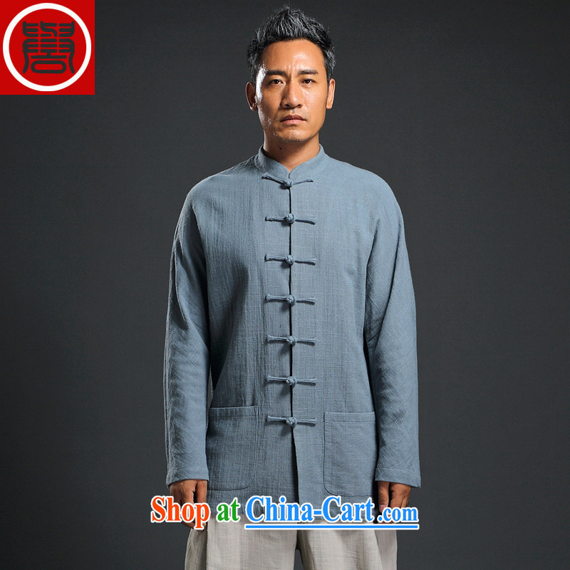 Internationally renowned Chinese clothing autumn Tang with long-sleeved men detained the Han-Chinese wind linen men's leisure loose cotton shirt the men's sky 3 XL