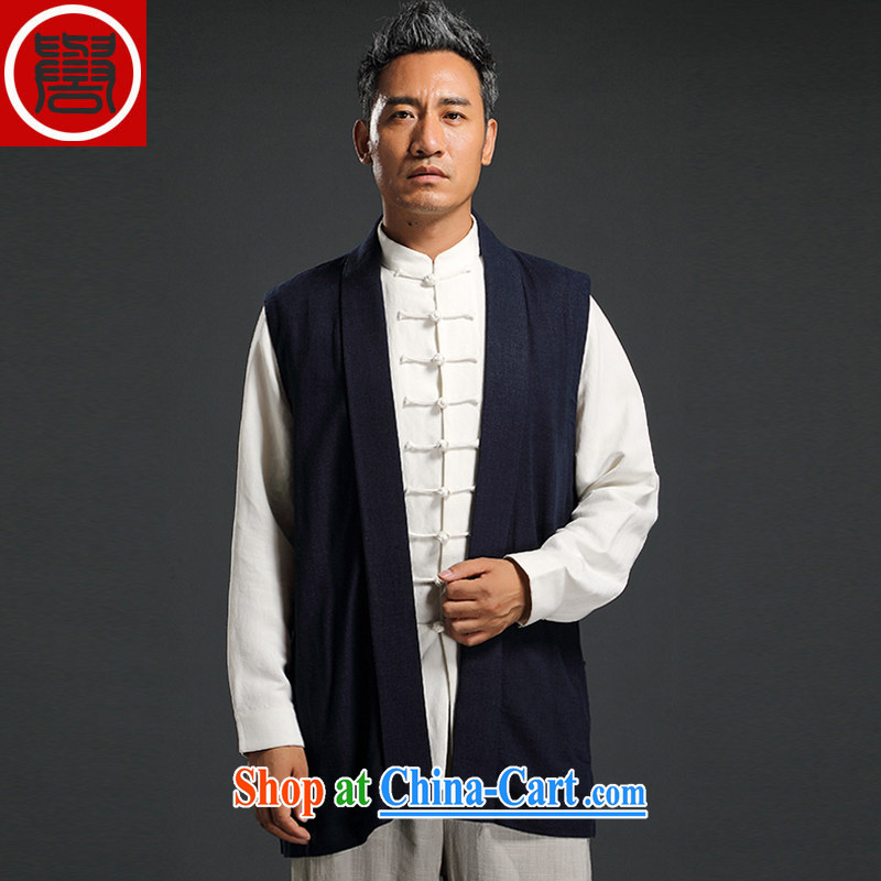 Internationally renowned Chinese clothing Chinese wind men's vest jacket cotton the shawls and eschewed T-shirt Chinese vest Lounge, shoulder, Autumn blue 1 XL