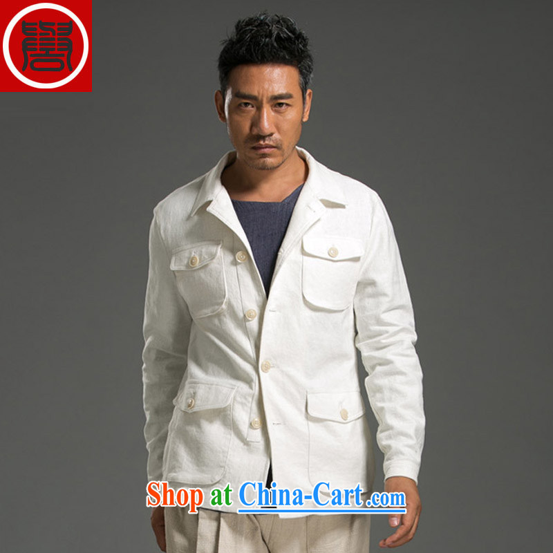Internationally renowned Chinese clothing men's linen jacket cultivating lapel leisure jacket jacket men's T-shirt white XL