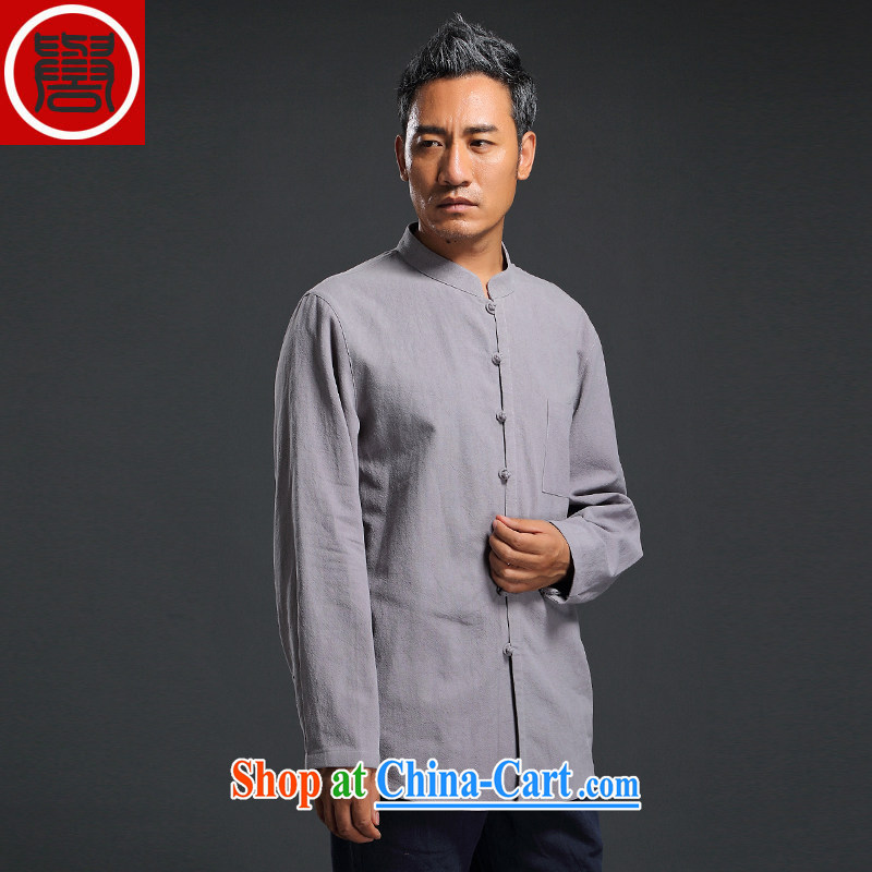 Internationally renowned Chinese clothing linen shirt men's Chinese loose color autumn shirt China wind men linen long-sleeved T-shirt gray 4 XL