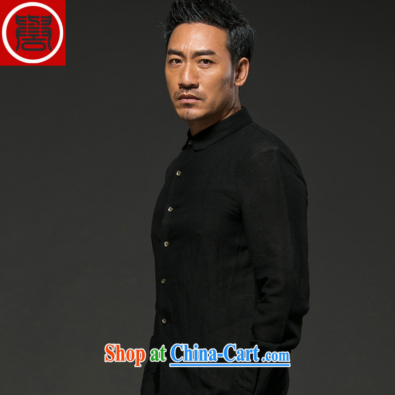 Internationally renowned Chinese clothing Chinese wind up collar antique Chinese shirt men's long-sleeved cultivating stretch cotton business shirt black-and-white autumn crisp black XXXL
