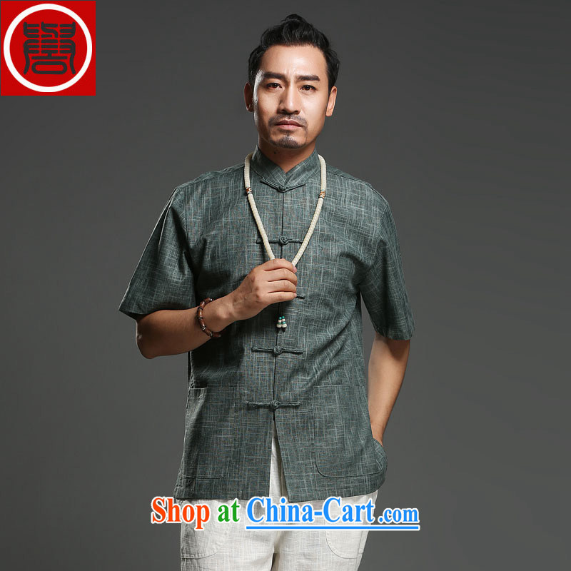 Internationally renowned Chinese style Leisure men's improved short-sleeved Tang in older men and Chinese cotton the men's national costumes green XXXL