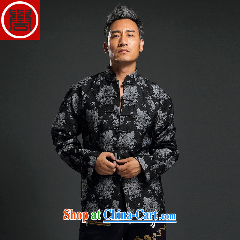 Internationally renowned Chinese clothing Chinese men and Chinese hand-tie China wind knitting denim jacket stylish retro T-shirt, collar jacket black 4XL