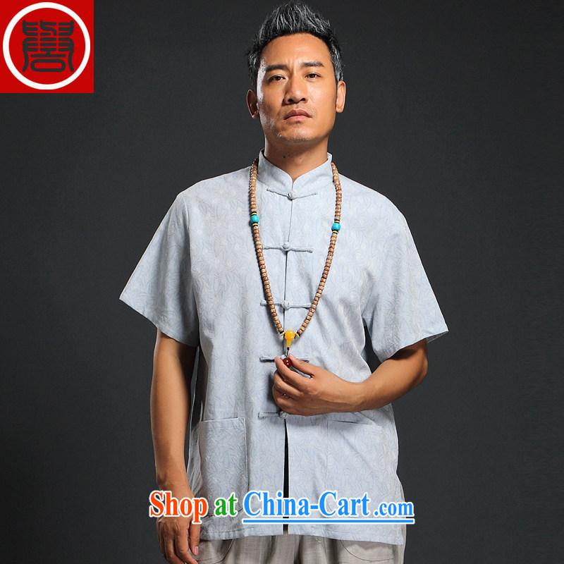 Internationally renowned Chinese clothing Chinese wind summer 2015 New Men's linen short-sleeve shirt retro male Chinese cotton shirt the thin blue 4 XL