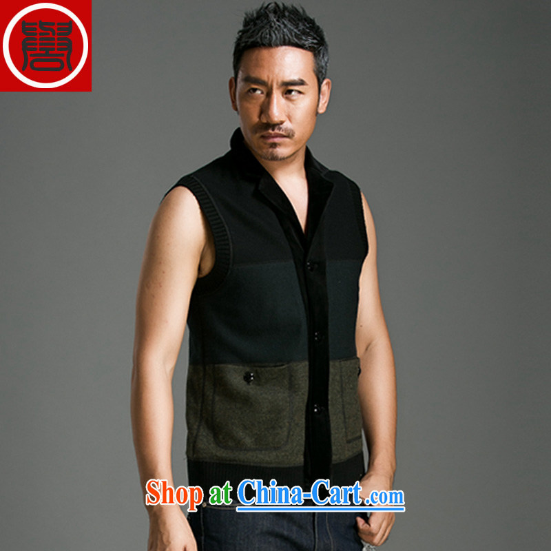 Internationally renowned Chinese clothing Autumn Chinese wind click the buckle casual relaxed retro a lapel sleeveless jacket men and business men's dark gray 190