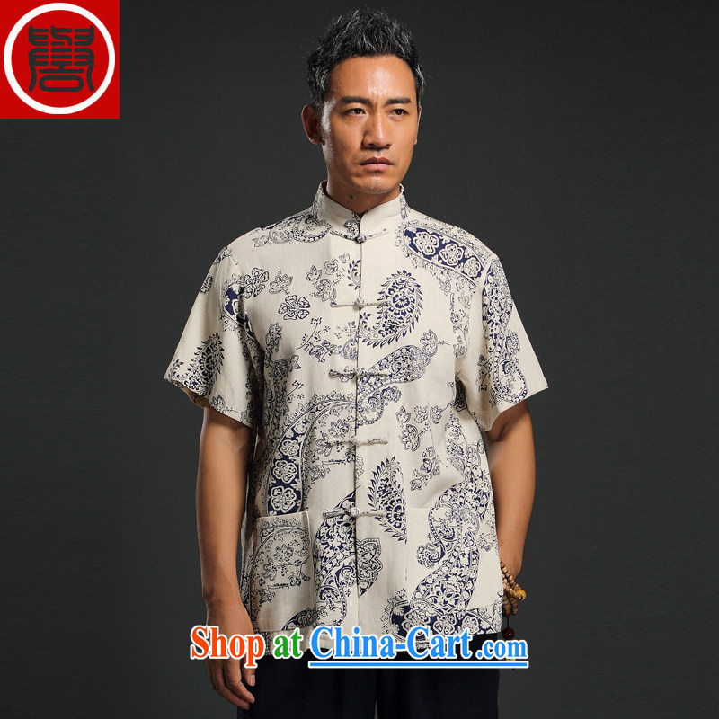 Internationally renowned Chinese clothing Chinese wind linen men's short-sleeved middle-aged Chinese men's T-shirt Chinese-tie shirt retro summer male white 4 XL