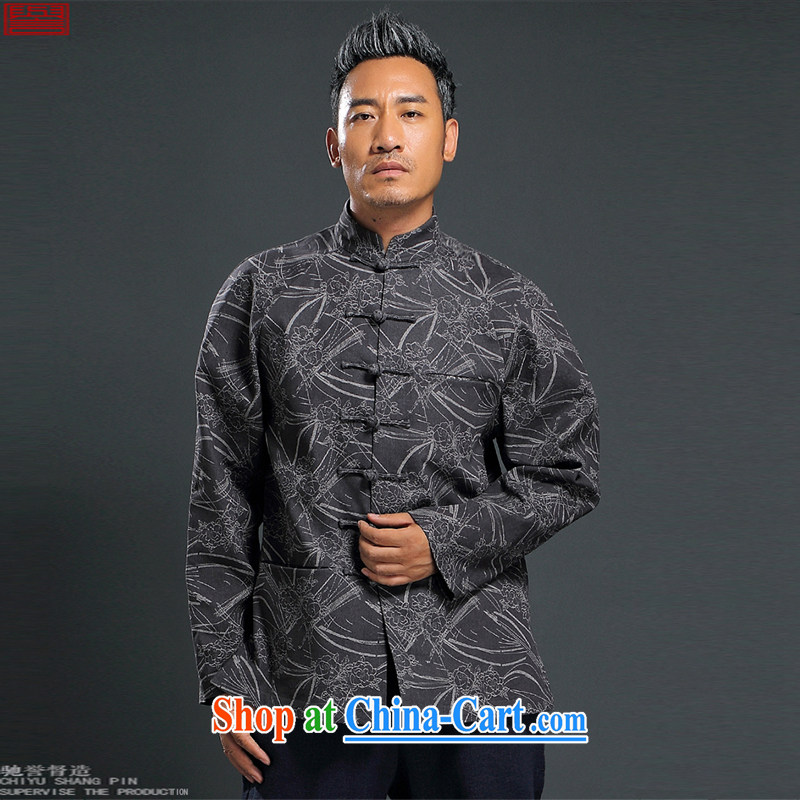 Internationally renowned Chinese clothing Chinese wind knitting cowboy Chinese men and Chinese hand-tie jacket stylish retro T-shirt, collar jacket dark gray 4 XL