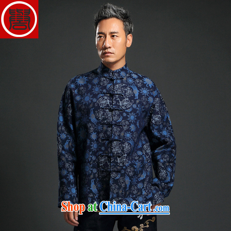 Internationally renowned Chinese clothing Chinese wind knitting cowboy Chinese men and Chinese hand-tie jacket stylish jacket and collar retro T-shirt blue 4 XL