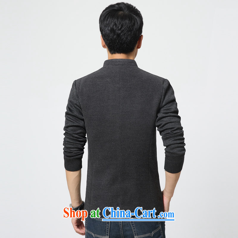 Waxberry 2015 Korean version for a small suit Male and single western Generalissimo Tang replace stitching knitted cuffs cultivating male Leisure Suit male gray XXL